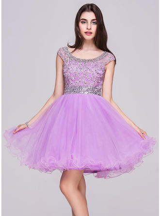 Scoop Neck Sleeveless Tulle Elegant Homecoming Dresses