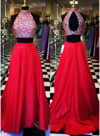 A-Line/Princess Halter Satin Sleeveless Sweep Train Beading Evening Dresses