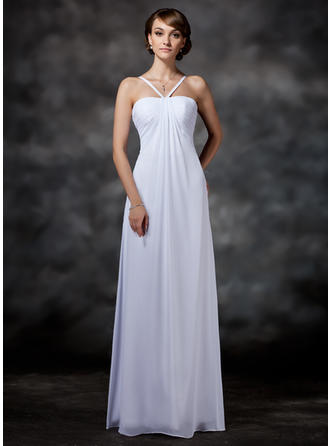 Magnificent Floor-Length Empire Wedding Dresses Halter Chiffon Sleeveless