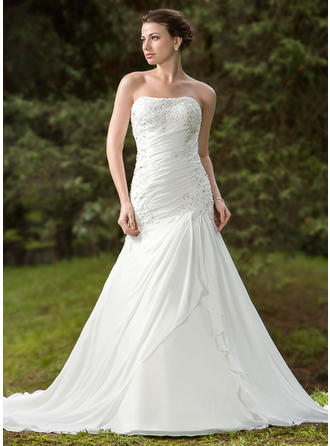 Sexy Chapel Train Trumpet/Mermaid Wedding Dresses Sweetheart Chiffon Satin Sleeveless