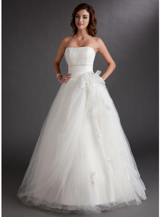 Ball-Gown Strapless Floor-Length Prom Dresses With Beading Appliques Lace