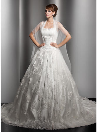 Simple Chapel Train Ball-Gown Wedding Dresses Square Lace Sleeveless (002000180)