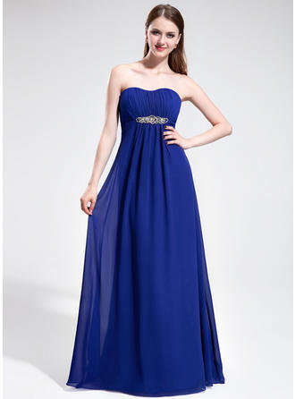 Chiffon Sleeveless Empire Prom Dresses Sweetheart Ruffle Beading Sweep Train