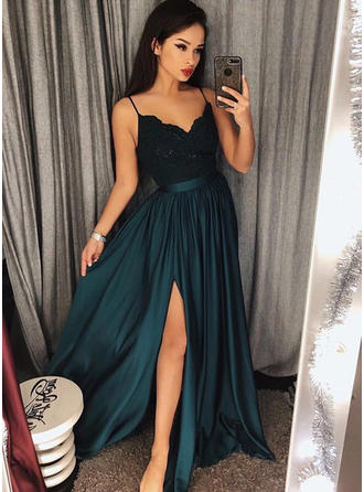 A-Line/Princess V-neck Floor-Length Satin Evening Dresses With Lace