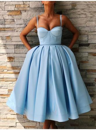 Ruffle Sweetheart Satin Ball-Gown Homecoming Dresses (022219406)