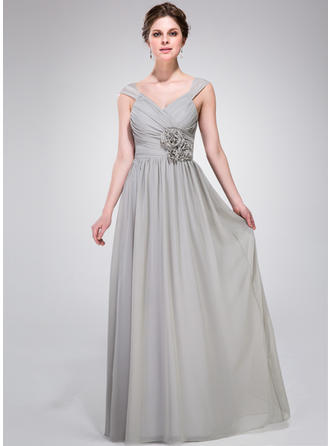Chiffon Sleeveless A-Line/Princess Bridesmaid Dresses V-neck Ruffle Flower(s) Floor-Length