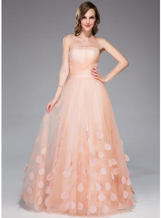 A-Line/Princess Strapless Floor-Length Tulle Prom Dress With Ruffle Flower(s)