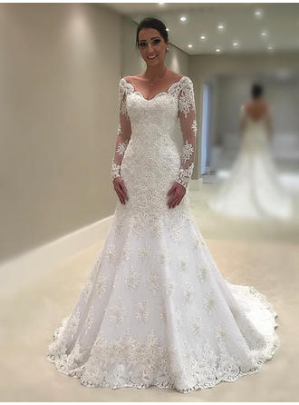 2019 New Lace Wedding Dresses Trumpet/Mermaid Chapel Train V-neck Long Sleeves