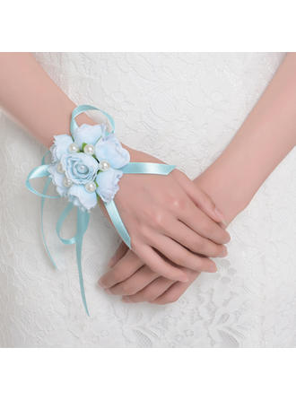 Wrist Corsage Round Wedding Satin The color of embellishments are shown as picture Wedding Flowers