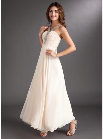 A-Line/Princess V-neck Ankle-Length Prom Dresses With Ruffle Beading
