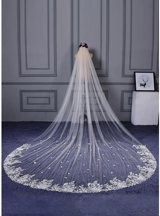 One-tier Lace Applique Edge Cathedral Bridal Veils