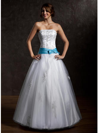 Ball-Gown Strapless Floor-Length Tulle Prom Dress With Sash Beading Appliques Lace Bow(s)