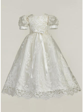 Lace Scoop Neck Bow(s) Baby Girl's Christening Gowns With Short Sleeves