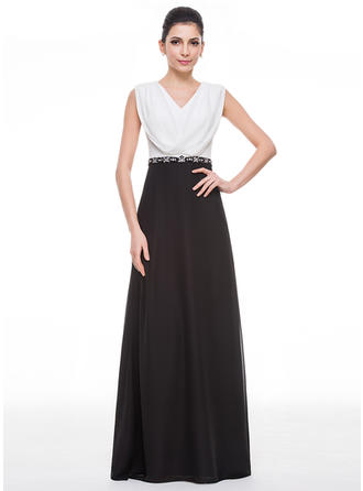 A-Line/Princess Cowl Neck Chiffon Sleeveless Floor-Length Ruffle Beading Sequins Mother of the Bride Dresses