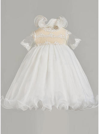 Tulle High Neck Lace Baby Girl's Christening Gowns With 1/2 Sleeves