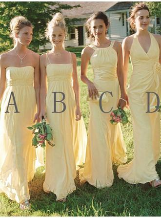 A-Line/Princess Chiffon Bridesmaid Dresses Ruffle Sweetheart Halter Scoop Neck Square Neckline Sleeveless Floor-Length