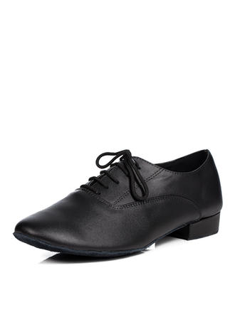 Men's Latin Ballroom Practice Character Shoes Flats Real Leather With Lace-up Dance Shoes