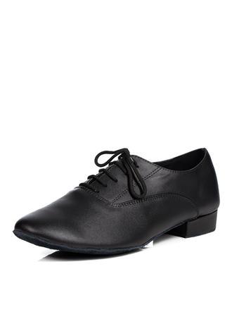 Dos homens Latino Salão de Baile Treino sapatos de personagem Sem salto Couro verdadeiro com Aplicação de renda Sapatos de dança (053103534)