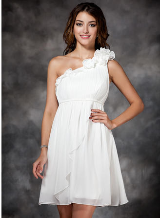 Empire One-Shoulder Short/Mini Prom Dresses With Ruffle Flower(s)