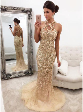 Trumpet/Mermaid V-neck Tulle Sleeveless Sweep Train Beading Sequins Evening Dresses