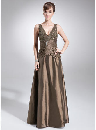 A-Line/Princess Taffeta Sleeveless V-neck Floor-Length Zipper Up Mother of the Bride Dresses