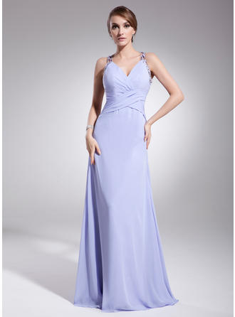 A-Line/Princess V-neck Floor-Length Evening Dress With Ruffle Beading