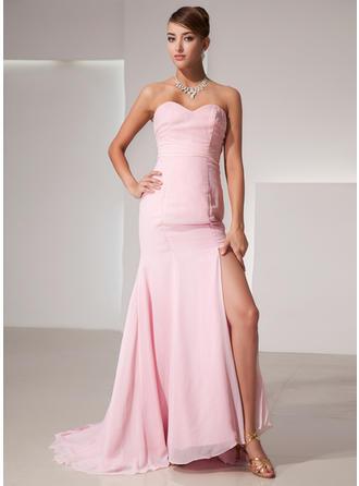 Elegant シフォン マーメイド アップジッパー イブニングドレス (017014435)