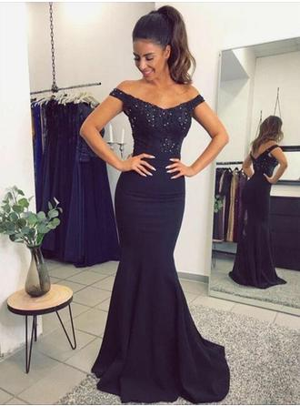 Trumpet/Mermaid Off-the-Shoulder Sweep Train Evening Dress With Beading (017210041)