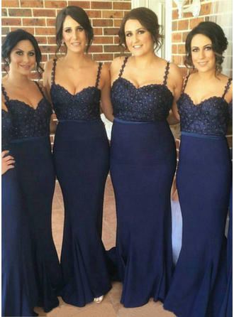 Stretch Crepe Sleeveless Trumpet/Mermaid Bridesmaid Dresses Sweetheart Beading Sweep Train