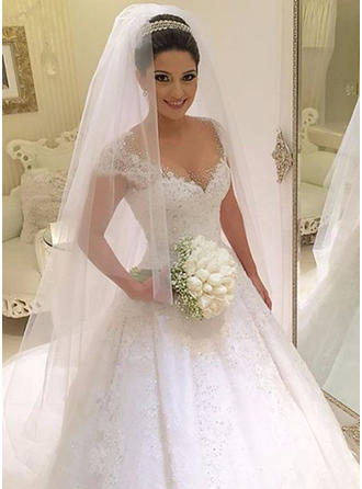 Ball-Gown V-neck Floor-Length Court Train Wedding Dress With Lace Beading Sequins