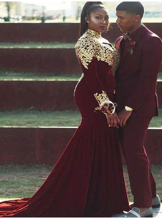 Trumpet/Mermaid Velvet Prom Dresses Appliques Lace High Neck Long Sleeves Court Train