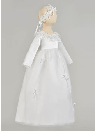 A-Line/Princess Scoop Neck Floor-length Satin Tulle Christening Gowns With Beading Bow(s)