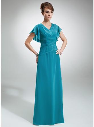 A-Linie/Princess-Linie V-Ausschnitt Chiffon Kurze Ärmel Bodenlang Gestufte Rüschen Kleider für die Brautmutter (008006033)