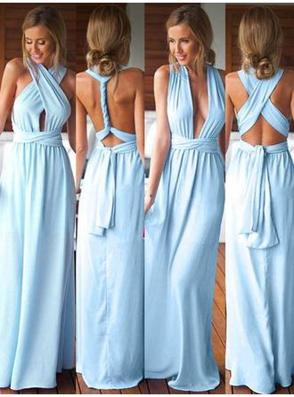 A-Line/Princess V-neck Floor-Length Jersey Bridesmaid Dress With Ruffle
