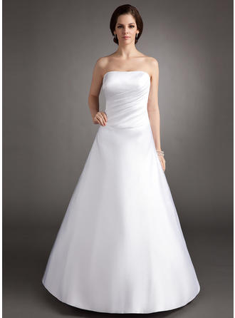 A-Line/Princess Satin Stunning Floor-Length Strapless Sleeveless