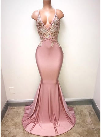 Sexy Charmeuse V-neck With Trumpet/Mermaid Prom Dresses
