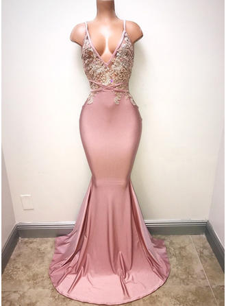 Trumpet/Mermaid Satin Prom Dresses Gorgeous Sweep Train V-neck Sleeveless