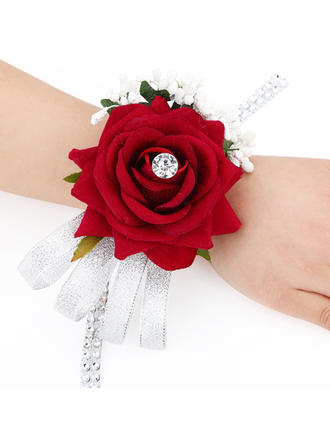 "Wrist Corsage Rosy Wedding/Party/Casual Fabric 3.54"" (Approx.9cm) Wedding Flowers"