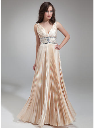 Charmeuse Princess Evening Dresses With V-neck