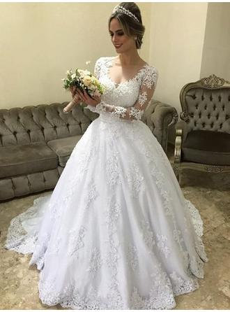 V-neck Ball-Gown Wedding Dresses Tulle Appliques Lace Long Sleeves Court Train