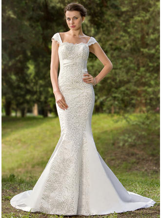 Princess Court Train Trumpet/Mermaid Wedding Dresses Sweetheart Satin Sleeveless