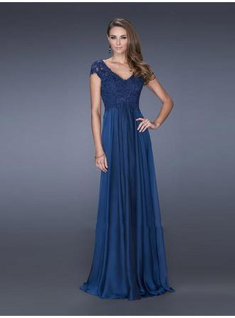 Empire V-neck Floor-Length Evening Dresses With Lace Beading