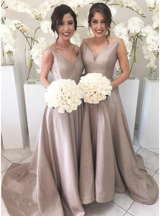 Taffeta Sleeveless A-Line/Princess Bridesmaid Dresses V-neck Ruffle Sweep Train