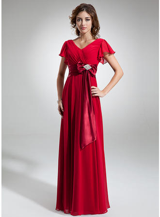 Chic Chiffon V-neck A-Line/Princess Mother of the Bride Dresses