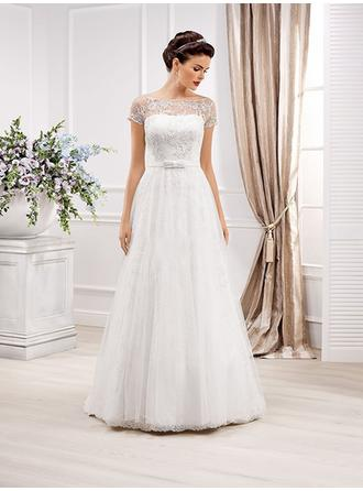 A-Line/Princess Scoop Sweep Train Wedding Dresses With Lace Sash Bow(s)