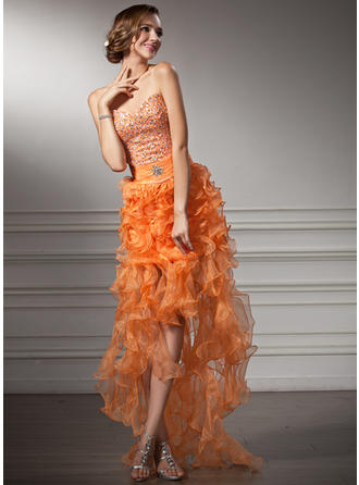 A-Line/Princess Sweetheart Asymmetrical Prom Dresses With Beading Cascading Ruffles