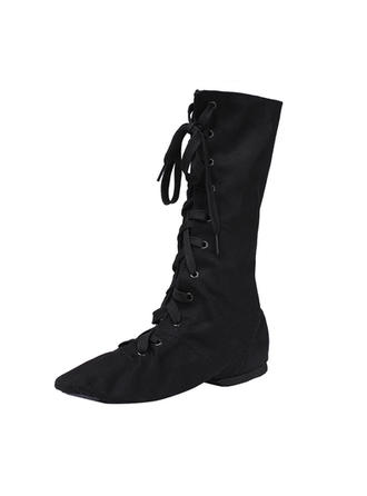 Unisex Jazz Dance Boots Flats Canvas Dance Shoes