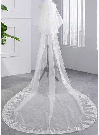Two-tier Lace Applique Edge Chapel Bridal Veils With Lace (006141330)
