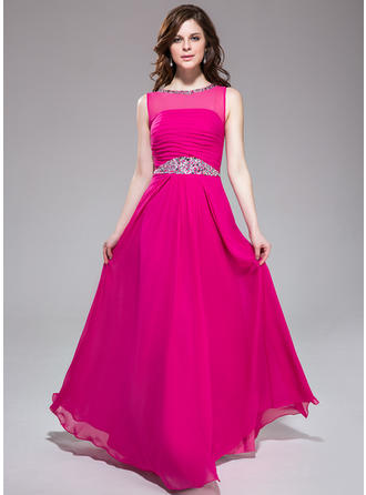 Chiffon Sleeveless A-Line/Princess Prom Dresses Scoop Neck Ruffle Beading Floor-Length