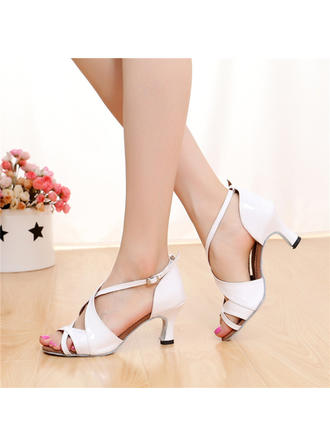 Women's Latin Heels Sandals Leatherette With Buckle Hollow-out Dance Shoes
